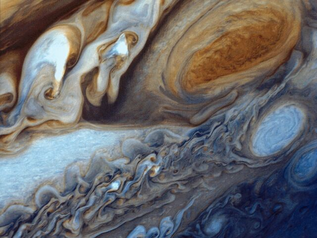 The picture shows the planet Jupiter.